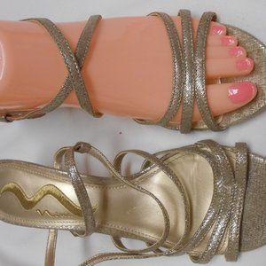 Cute Nina 7 1/2 gold metallic sandals kitten heel